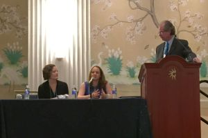 Keri Hager and Shannon Reidt answer questions at the Innovations in Teaching Award Presentation.