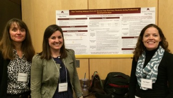 Kristin Janke, Claire Kolar and Keri Hager present their poster on Peer Teaching at the 2015 ADT conference.