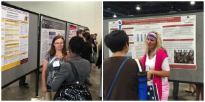 Ann Philbrick (L) and Kerry Fierke presenting their posters at AACP