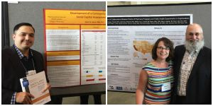 Oscar Garza (L) and Paul Ranelli, along with the chair of the Public Health SIG, Natalie DiPietro Mager, presenting their posters at AACP